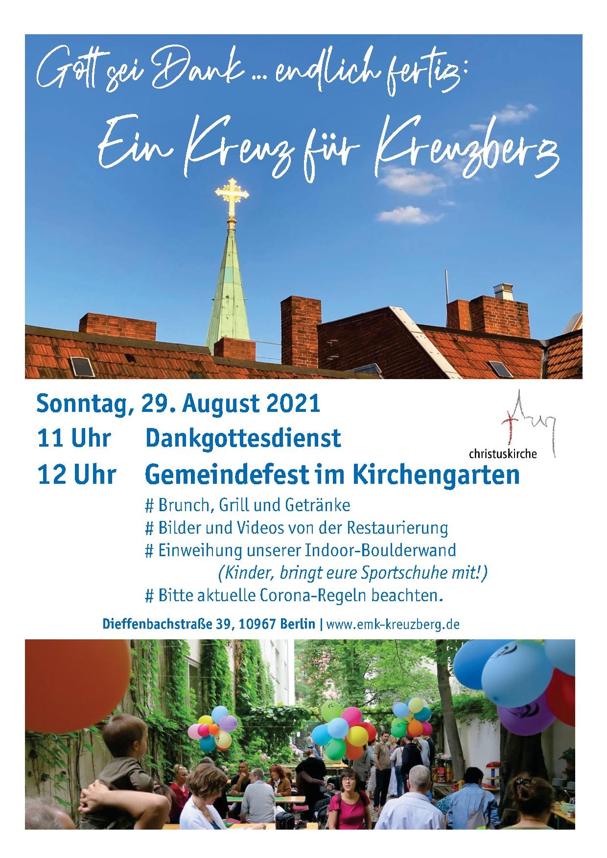 29. August: Gott, sei Dank, endlich fertig! Ein Kreuz für Kreuzberg.
