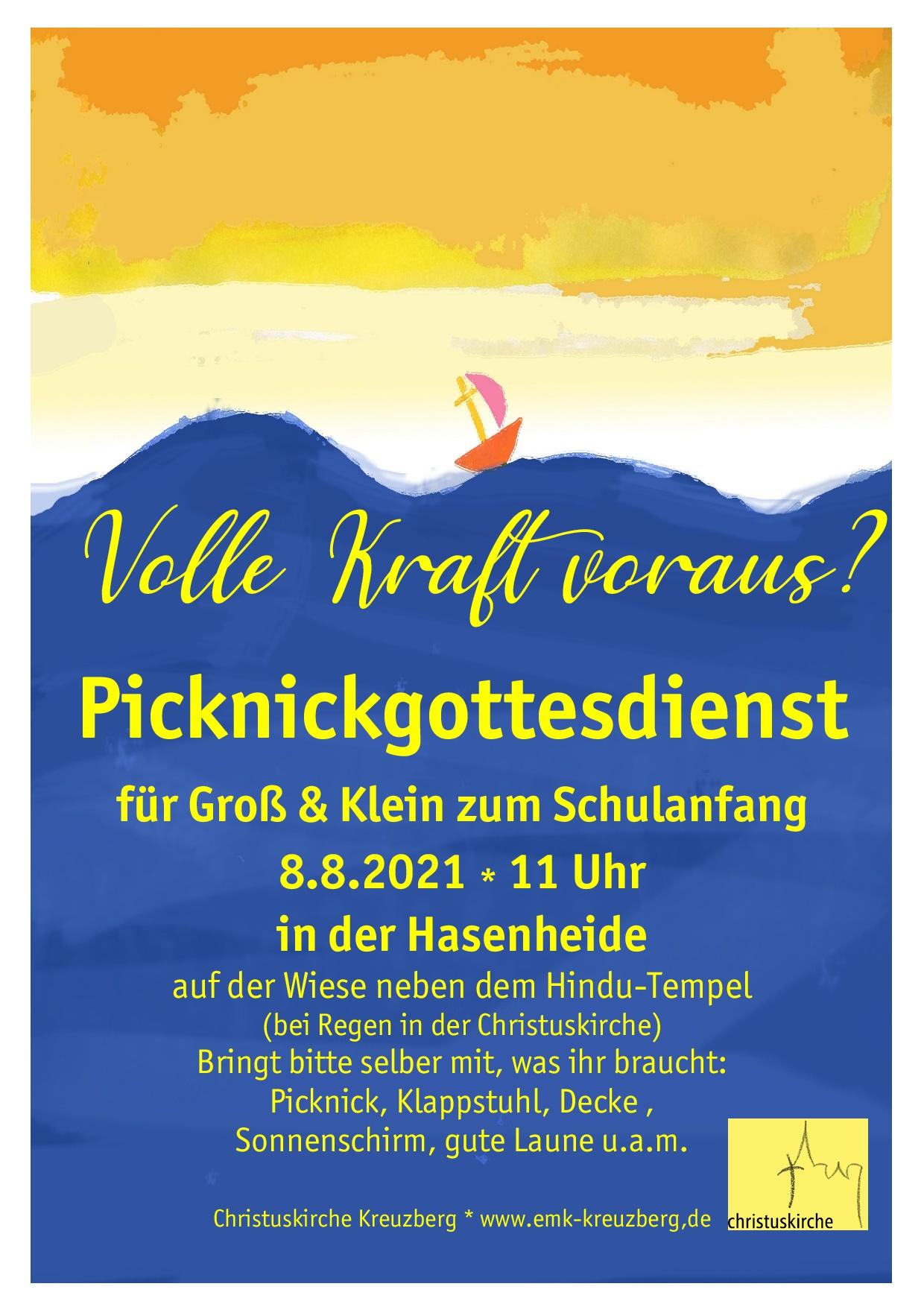 8. August 11 Uhr Picknickgottesdienst zum Schulanfang